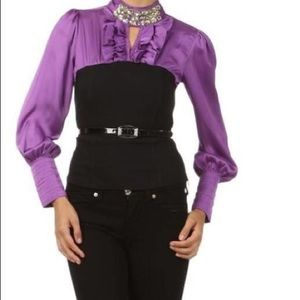 Purple and Black Corset Style Blouse